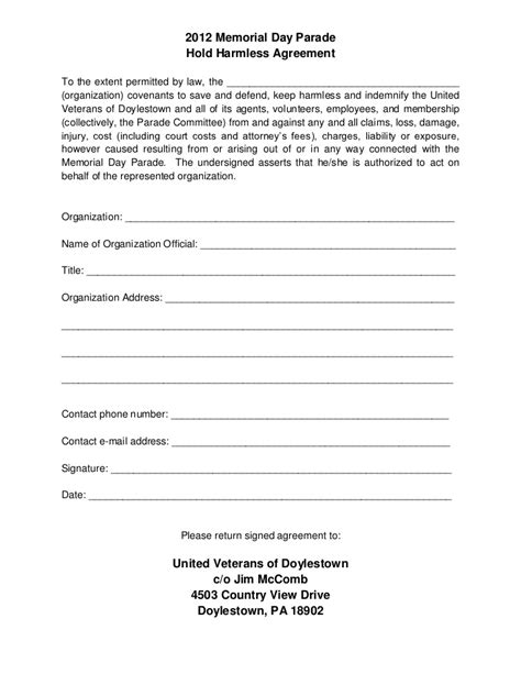 Hold Harmless Waiver Template by Hold Harmless Agreement