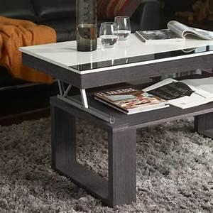 Table Basse Blanc Gris : table basse relevable plateau blanc et pied bois d co et saveurs ~ Teatrodelosmanantiales.com Idées de Décoration