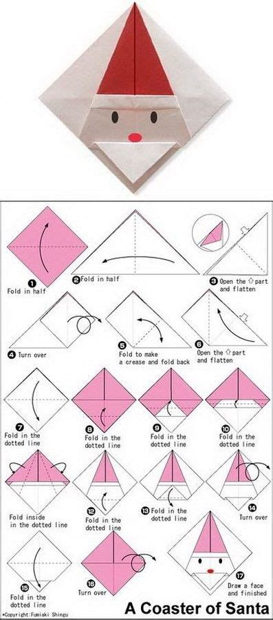origami santa claus coaster nikolaus