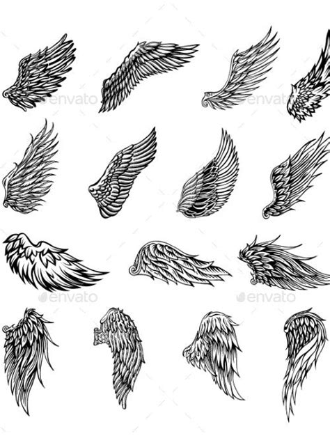 Wings Graphic Illustration - Miscellaneous Vectors | Wings drawing, Angel tattoo designs, Wing