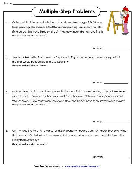 Multiplestep Word Problem Worksheets