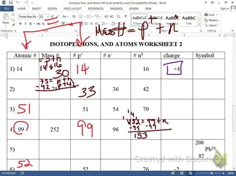 ions isotopes atoms worksheet