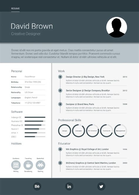 10 free psd resume template designs ready to fill out