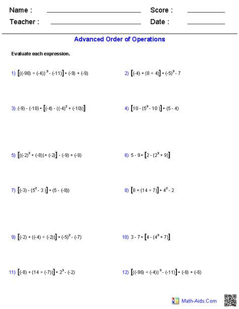 order of operations worksheets order of operations