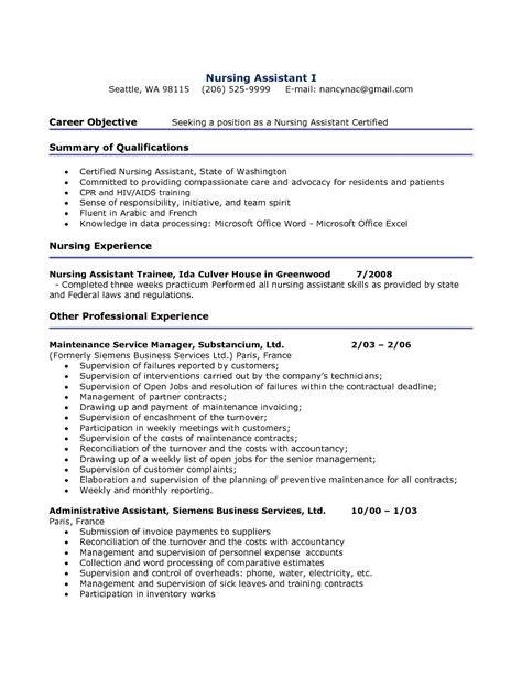 resume sle for nursing assistant sle resumes
