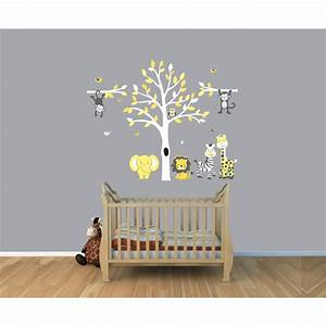 Yellow & Gray Jungle Tree Wall Decal With Monkey Wall