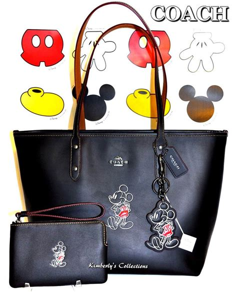 coach  disney  mickey mouse black leather tote bag