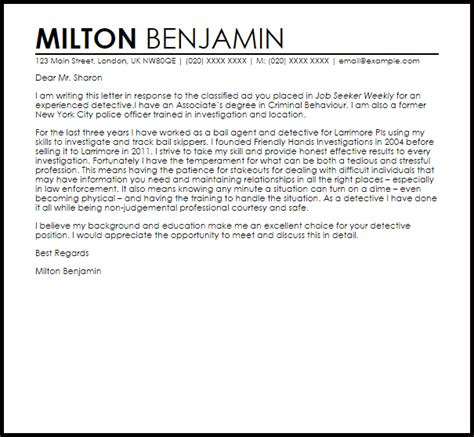 detective cover letter sample cover letter templates
