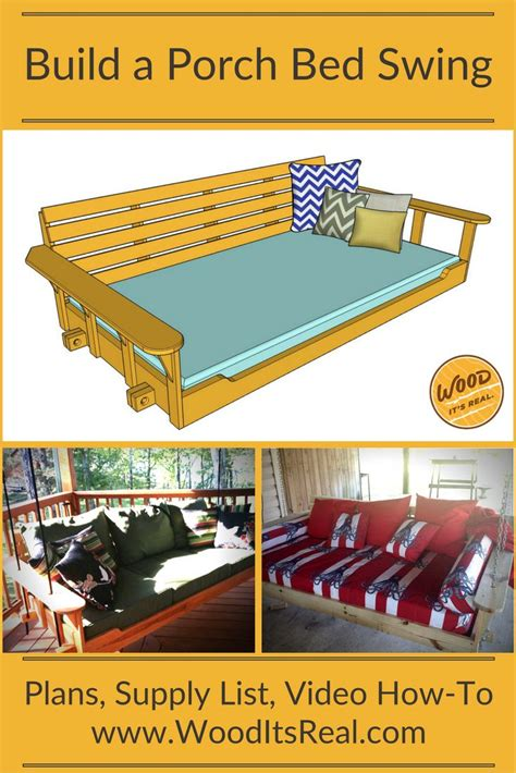 wood  real southern yellow pine porch bed swing wood projects   porch bed diy