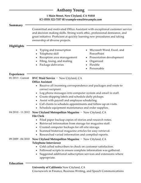 Best Office Assistant Resume Example  Livecareer. Sample Corporate Resume. Computer Skills Resume Examples. Resume Objective Account Manager. Victim Advocate Resume. Linkedin Resume Generator. Free Visual Resume Templates. Other Skills Resume. How To Write A Resume For Education Jobs