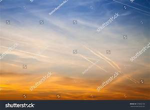 Beautiful Sky Sunset Streaked Airplane Traces Stock Photo ...