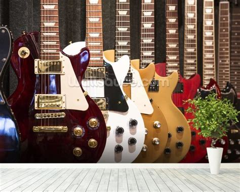 electric guitars wallpaper wall mural wallsauce uk