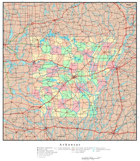 large detailed administrative map  arkansas state
