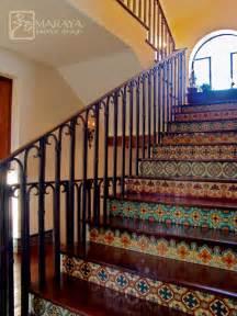 hacienda home interiors malibu tile stair mediterranean staircase santa