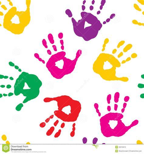 seamless pattern  handprints stock vector