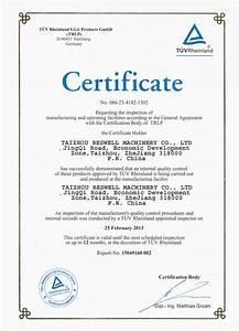 tuv factory inspection certificate taizhou beswell With certificate of inspection template