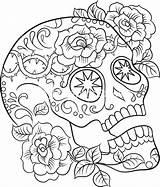 Skull Adults Coloring Sugar Printable Getcolorings Colouring sketch template