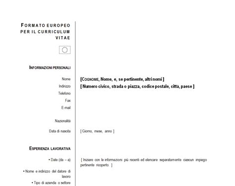modello curriculum vitae cv europeo gratis presentazione