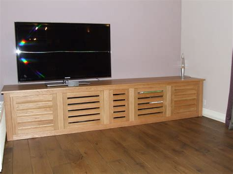 Tv Cabinet With Doors by Bespoke Oak Tv Cabinet With Louvered Doors