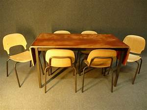 vintage industrial dining room table with 6 chairs catawiki With vintage industrial dining room table