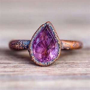 amethyst tear drop and copper ring bohemian gypsy With indie wedding rings