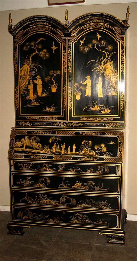 elegant black lacquered chinoiserie secretary
