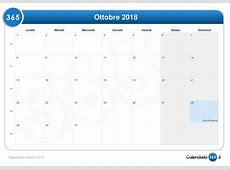 Calendario ottobre 2018