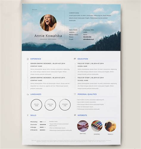 Graphic Designer Resume Templates Word by Best Free Clean Resume Templates In Psd Ai And Word Docx