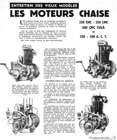 chaise moteur chaise bloc moteurs 1955 article moto revue