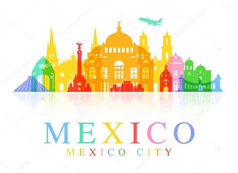 México Lugares de interés . — Archivo Imágenes Vectoriales ...