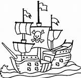 Pirate Ship Coloring Drawing Boat Printable Pirates Colouring Sheets Dock Cruise Cartoon Viking Ships Line Drawings Anchor Getdrawings Coloringpagebook Sail sketch template