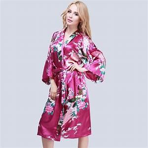 Femme sexy peignoir satin kimono lingerie nuisette robe de for Robe de chambre satin