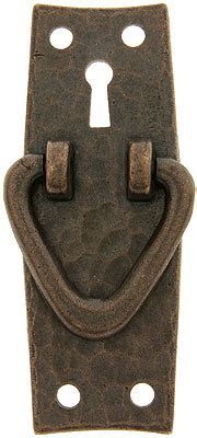 stickley style arts crafts vertical pull  keyhole   shape ring house  antique