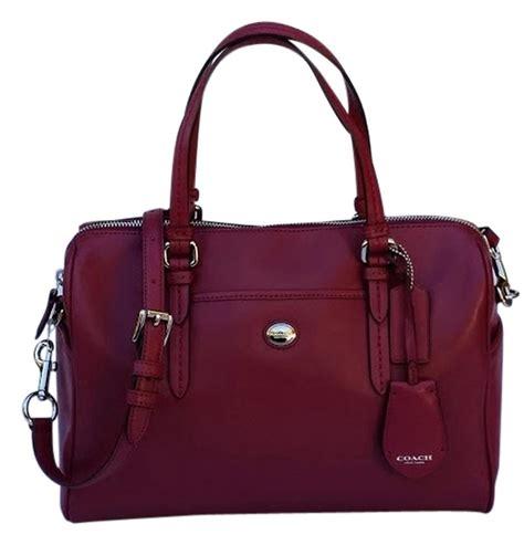 coach peyton leather nancy satchel crossbody bag merlot