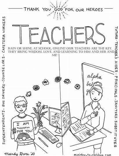 Coloring Teachers Heroes Children Ministry Teacher God