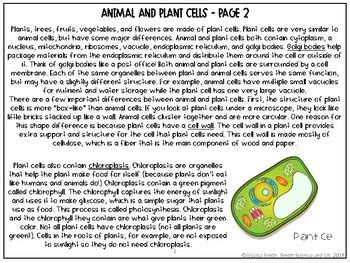 animal  plant cells organelles reading comprehension