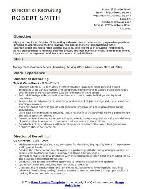 Resume Build Relationships by Director Of Recruiting Resume Sles Qwikresume