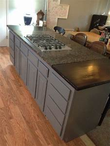 7, Foot, Kitchen, Island, And, Bar, Gas, Cooktop, Granite, And, Butcher, Block, Top