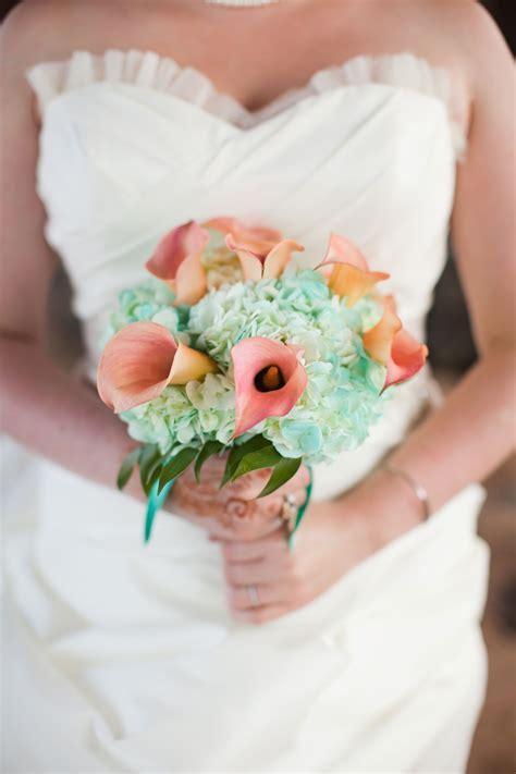 Wedding Bouquet Blue Hydrangea And Peach Calla Lily Lily