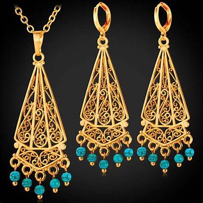 Turkish Jewelry Earrings Gold Necklace Sets Pendant