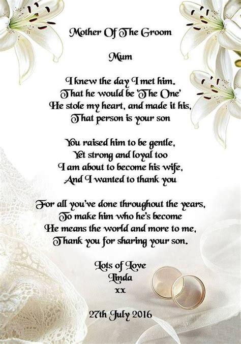 wedding day   gift mother   groom  bride poem  photo  wedding gifts