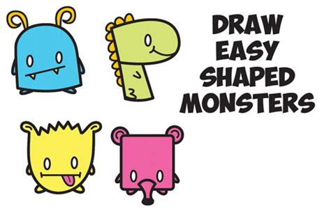 draw cute cartoon monsters  simple shapes