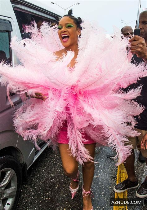 Rihanna Sexy In A Pink Dress During Kadooment Day Parade