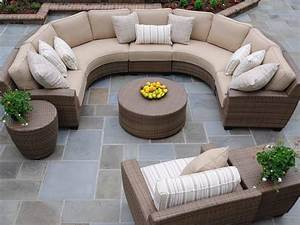 Outdoor round patio coffee table coffee table design ideas for Sectional sofa round coffee table