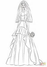 Coloring Bride Pages Printable sketch template