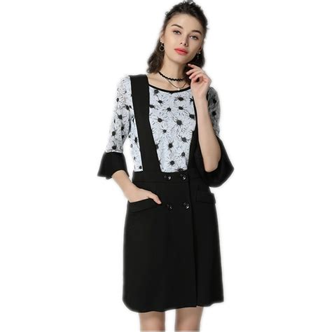 Two Piece Set Women Lace Tops Black Strap Skirt Flare