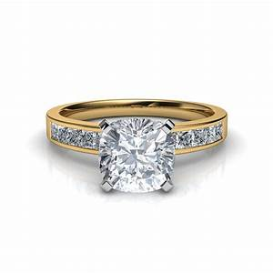 Channel set cushion cut engagement ring in 14k yellow gold for Engagement rings wedding sets