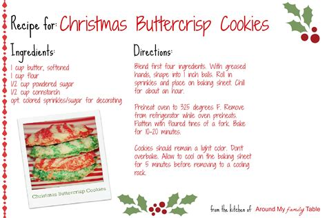 christmas recipe christmas buttercrisp cookies recipe card around my family table