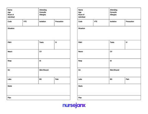 sbar brain  nursing report sheets