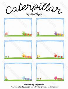 printable caterpillar name tags With locker tag templates
